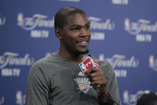 Oklahoma City Thunder's Kevin Durant during news conference Wednesday, June 13, 2012, in Oklahoma City. Game 2 of NBA finals basketball between the Miami Heat and Oklahoma City Thunder is Thursday. (AP Photo/Sue Ogrocki)