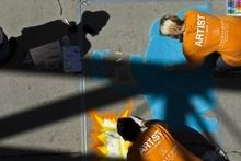 Photo by Chris Detrick | The Salt Lake Tribune  Megan Anderson, of Midvale, and Bretlen Tomei, of Midvale, draw during the Utah Foster Care Foundation's Annual Chalk Art Festival. This year's festival will be held June 15 and 16, Father's Day weekend, at The Gateway Mall.