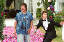 This film image released by Columbia Pictures shows Adam Sandler, left, and  Andy Samberg in a scene from