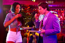 This film image released by Columbia Pictures shows Ciara, left, and Andy Samberg in a scene from
