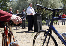 Al Hartmann     The Salt Lake Tribune  Salt Lake City Councilman Carlton Christensen speaks at a news conference to mark completion of one of the last sections of the Jordan River Parkway Trail, at 1800 N. Redwood Road.
