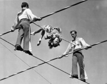 FILE- In this March 19, 1944 photo, members of the Wallenda family practice on a 90 foot high wire at the Ringling Bros. and Barnum & Bailey's winter headquarters in Sarasota, Fla. On Friday, June 15, 2012, Nik Wallenda, a seventh generation