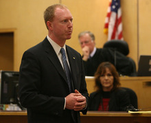 Steve Griffin | The Salt Lake Tribune   Prosecutor Grant Blinn gives his closing arguments in front of Judge Ronald E. Culpepper in the Steve Powell trial in the Pierce County Superior Court in Tacoma, Wash., on May 15, 2012.