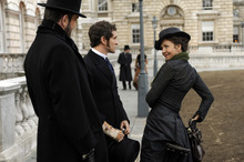 Charlotte Dalrymple (Maggie Gyllenhaal, right) impresses young Dr. Mortimer Granville (Hugh Dancy, center) and his longtime friend Edmund St. John-Smythe (Rupert Everett), in the Victorian comedy
