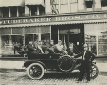 Tribune file photo  A group of men pose with their car in downtown Salt Lake City in this undated photo.