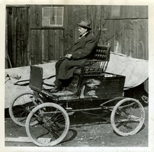 Tribune file photo  Hyrum A. Silver rides on the first car ever bought in Utah. He bought the car in 1896.