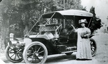 Tribune file photo  Orvilla Draper Shafer stands with her Pierce Arrow in 1915.
