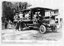 Tribune file photo  Carbon County's first school bus is seen sometime during the 1912-1913 school year.