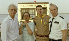 Suzy's parents, Walt and Laura (Bill Murray and Frances McDormand, at left), meet Sam's scoutmaster (Edward Norton) and Capt. Sharp of the Island Police (Bruce Willis) in Wes Anderson's