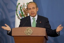 Mexico's President Felipe Calderon speaks during a news conference at Los Pinos presidential residence in Mexico City, Tuesday, June 12, 2012. Mexico is hosting the upcoming G-20 summit, beginning Friday in the coastal resort of Los Cabos, where leaders will start assembling a few days later against a backdrop of financial turmoil and uncertainty in Europe. Calderon said leaders of the world's largest economies will work to produce a lasting solution to the European financial crisis. (AP Photo/Eduardo Verdugo)