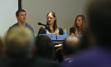 Scott Sommerdorf  |  The Salt Lake Tribune              Logan Brown, left, Nicole Kingston (now Mafi) and Liesl D were part of a panel discussion at the annual conference of the polygamy-focused Safety Net committee focused on youth from polygamous communities, Friday, June 15, 2012.