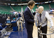 Kim Raff | The Salt Lake Tribune Jazz play-by-play announcer Craig Bolerjack talks with long time Jazz usher Wally Price before a Jazz game at the Energy Solutions Arena in Salt Lake City on April 21, 2012.