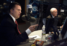 Dan Liljenquist and Utah Sen. Orrin Hatch participate in a debate at KSL in Salt Lake City, Utah,  on Friday, June 15, 2012. (AP PHOTO/Laura Seitz, Pool photo, Deseret News)