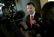 Dan Liljenquist speaks to reporters after participating in a debate with Utah Sen. Orrin Hatch at KSL in Salt Lake City, Utah,  on Friday, June 15, 2012. (AP PHOTO/Laura Seitz, Pool photo, Deseret News)