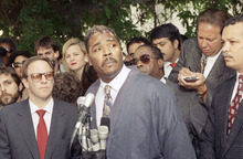 FILE - This May 1, 1992 file photo shows Rodney King making a statement at a Los Angeles news conference. King, the black motorist whose 1991 videotaped beating by Los Angeles police officers was the touchstone for one of the most destructive race riots in the nation's history, has died, his publicist said Sunday, June 17, 2012. He was 47.  (AP Photo/David Longstreath, file)