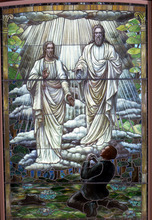 Mormons buck the conventional Christian view of the Trinity. Instead, they believe God and Jesus are separate beings, each with physical, albeit exalted bodies. This stained-glass window depicts the boy prophet Joseph Smith seeing God and Jesus in an 1820 vision that gave birth to the Mormon faith.