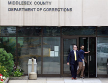 Dharun Ravi, right, 20, walks out of Middlesex County jail with his attorney Steven Altman in North Brunswick, N.J., Tuesday, June 19, 2012. The Indian-born former Rutgers University student who was convicted of bias intimidation for using a webcam to see his roommate kissing another man was released from jail Tuesday after serving 20 days of a 30-day sentence. (AP Photo/Mel Evans)