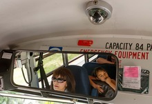 Trent Nelson  |  The Salt Lake Tribune School bus driver Sylvia Wouters drives students from Pleasant Green Elementary School Friday, June 15, 2012 in Magna, Utah. Granite School District has installed video cameras on school buses.