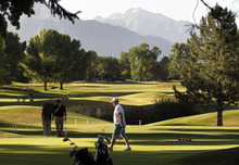 Al Hartmann  |  The Salt Lake Tribune  Trio of golfers finish up on the ninth hole during an early morning round on a perfect cool morning Tuesday June 19 at Forrest Dale Golf Course  in Sugarhouse.