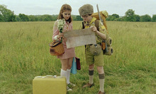 Suzy (Kara Hayward, left) and Sam (Jared Gilman) rendezvous in Wes Anderson's