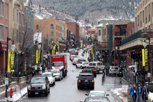 Rick Egan  | The Salt Lake Tribune   Cars try to make their way up Main Street in Park City, Friday, January 20, 2012.