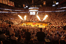 The Miami Heat and Oklahoma City Thunder are introduced at Game 4 of the NBA finals basketball series, Tuesday, June 19, 2012, in Miami.  (AP Photo/Wilfredo Lee)