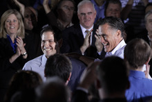 Jae C. Hong  |  The Associated Press Republican presidential candidate, former Massachusetts Gov. Mitt Romney is joined by Sen. Marco Rubio, R-Fla., during a town hall-style meeting in Aston, Pa., April 23, 2012.