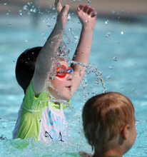 Francisco Kjolseth  |  The Salt Lake Tribune  Joshua Kubinak, 5, bobs up and down during a morning swim lesson at Steiner Aquatic Center in Salt Lake on Thursday, June 14, 2012. This is the third year Joshua has been enrolled in swimming classes.