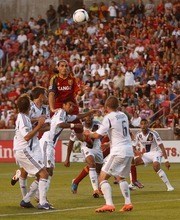 Trent Nelson  |  The Salt Lake Tribune RSL's Fabian Espindola leaps up to head the ball as Real Salt Lake hosts the L.A. Galaxy at Rio Tinto Stadium on Wednesday, June 20, 2012, in Sandy.