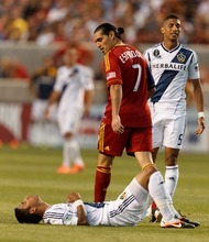Trent Nelson  |  The Salt Lake Tribune RSL's Fabian Espindola looks down at LA's A.J. DeLaGarza late in the second half as Real Salt Lake hosts the L.A. Galaxy at Rio Tinto Stadium on Wednesday, June 20, 2012, in Sandy.