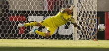 Trent Nelson     The Salt Lake Tribune RSL goalkeeper Nick Rimando leaps for a save as Real Salt Lake hosts the L.A. Galaxy at Rio Tinto Stadium on Wednesday, June 20, 2012, in Sandy.