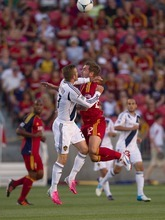Trent Nelson     The Salt Lake Tribune RSL's Jonny Steele and LA's David Beckham leap for the ball as Real Salt Lake hosts the L.A. Galaxy at Rio Tinto Stadium on Wednesday, June 20, 2012, in Sandy.
