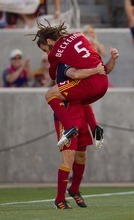 Trent Nelson     The Salt Lake Tribune RSL's Kyle Beckerman, right, and Fabian Espindola celebrate Beckerman's first-half goal as Real Salt Lake hosts the L.A. Galaxy at Rio Tinto Stadium on Wednesday, June 20, 2012, in Sandy.