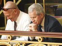 Leah Hogsten  |  The Salt Lake Tribune Utah liquor lobbyist Steve Barth (left) and LDS Church lobbyist Bill Evans (right) watch the House of Representatives as they debate SB4001, to increase the number of restaurant liquor licenses. The industry and church were participants in negotiations on the bill that flew through the special session on Wednesday.