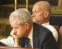 Leah Hogsten  |  The Salt Lake Tribune Utah liquor lobbyist Steve Barth (background) and LDS Church lobbyist Bill Evans (foreground) watch the House of Representatives as they debate SB4001. The Utah legislature went into a special session Wednesday, June 20, 2012 in Salt Lake City to approve the issuance of 90 new liquor licenses for restaurants, hoping to alleviate a scarcity that developers have said is hindering expansion. The bill, sponsored by Sen. John Valentine, R-Orem, said the bill would create 50 new full-service restaurant licenses and 40 new limited restaurant licenses for those establishments that only serve beer and wine.