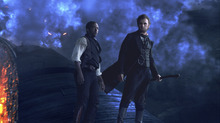 President Lincoln (Benjamin Walker, right) and his longtime friend Will Johnson (Anthony Mackie) make their final stand on a speeding train in