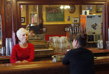 Al Hartmann  |  The Salt Lake Tribune  Red Banjo Banjo Pizza Parlour's Mary Lou Toly talks with a local Park Citian at the 100 year-old bar from the cityy's early miner's era.  Toly started the restaurant in 1962 and is the oldest family-owned business in Park City.  The restaurant's 50th birthday celebration will take place Sunday.