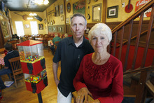 Al Hartmann  |  The Salt Lake Tribune  Mary Lou Toly and later her son Scott have run the Red Banjo Pizza Parlour in Park City.  She started the business in 1962 turning it from a rough miner's bar to restaurant serving local and toursits.   The restaurant's 50th birthday celebration will take place Sunday.