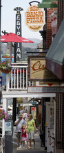 Al Hartmann  |  The Salt Lake Tribune  Tourists walk the eclectic Park City Main Street past Red Banjo Pizza Parlour. It's Park City's oldest business starting up in 1962.  The restaurant's 50th birthday celebration will take place Sunday.