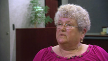 In this video image taken from AP video, bus monitor Karen Klein speaks during an interview, Thursday, June 21, 2012, in Greece, N.Y. A video of four seventh-grade boys mercilessly taunting the 68-year-old Klein that went viral has turned the victim into an international fundraising juggernaut and opened her tormentors to an onslaught of threats and abuse. From around the world, small donations for Klein poured into the crowd-funding site indiegogo.com, at one point crashing the site and pulling in a staggering $443,057 by early Friday. (AP Photo/AP video)