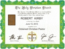 The certificate Robert Kirby bought on the Internet that he says ordains his as a Christian minister.