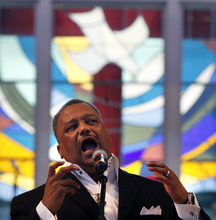 Gerald Herbert  |  The Associated Press Rev. Fred Luter, pastor of the Franklin Avenue Baptist Church, delivers a sermon during Sunday services at the Church in New Orleans earlier this month. The Southern Baptist Convention elected Luter as president Tuesday.