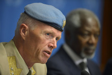 Major-General Robert Mood, left, head of the UN Supervision Mission in Syria and Chief Military Observer, speaks during a news briefing alongside Kofi Annan, Joint Special Envoy of the United Nations and the Arab League for Syria, at the United Nations in Geneva, Switzerland, Friday, June 22, 2012. Annan said Friday he continues to hold out hope that his six-point peace plan might succeed eventually in Syria, but believes Iran should be involved in efforts by world powers to end the escalating violence that has claimed thousands of lives and forced hundreds of thousands from their homes.  (AP Photo/Keystone, Martial Trezzini)