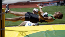 Ashton Eaton reacts after a pole vault during the decathlon competition at the U.S. Olympic Track and Field Trials Saturday, June 23, 2012, in Eugene, Ore. (AP Photo/Marcio Jose Sanchez)