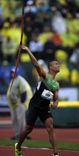 Ashton Eaton throws a javelin during the decathlon competition at the U.S. Olympic Track and Field Trials Saturday, June 23, 2012, in Eugene, Ore. (AP Photo/Matt Slocum)