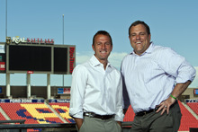 Chris Detrick  |  The Salt Lake Tribune Real Salt Lake coach Jason Kreis and Real Salt Lake general manager Garth Lagerwey pose for a portrait at Rio Tinto Stadium Wednesday June 13, 2012.