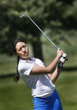 Scott Sommerdorf  |  The Salt Lake Tribune              Bingham golfer Sirene Blair plays through the Wasatch Golf Course to prepare for the state championship in 2012. Blair is not just the best girls' golfer in high school, she's one of the best golfers in Utah -- man or woman.