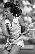 Billy Jean King, Tennis, former Wimbledon winner downed Kerry Reid 6-3, 7-5 after a sudden death tiebreaker in the 2nd set during the Semi-finals singles match in the Family Circle Magazine Cup tournament at Hilton Head Islandís Sea Pines resort on April 2, 1977. King is attempting a comeback after knee surgery. (AP Photo/Kathy Willens)