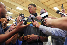 Consensus number one draft pick Anthony Davis talks to reporters while visiting the New Orleans Hornets, who have the first pick of the June 28th draft, at their practice facility in Westwego, La., Tuesday, June 19, 2012. (AP Photo/Gerald Herbert)