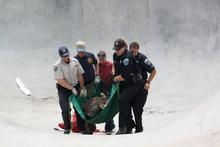 A young bull moose is carried from a skate park he wandered into in Nederland, Colorado Wednesday morning June 20, 2012. He was tranquilized and relocated by Nederland police and Colorado Parks and Wildlife. (AP Photo/Lois Ott, Town of Nederland)